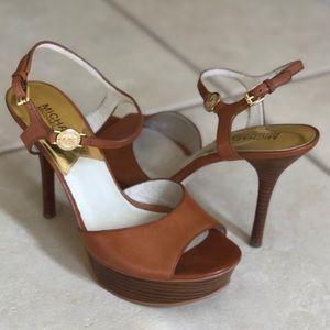 Michael Kors leather platform sandals. Acorn color